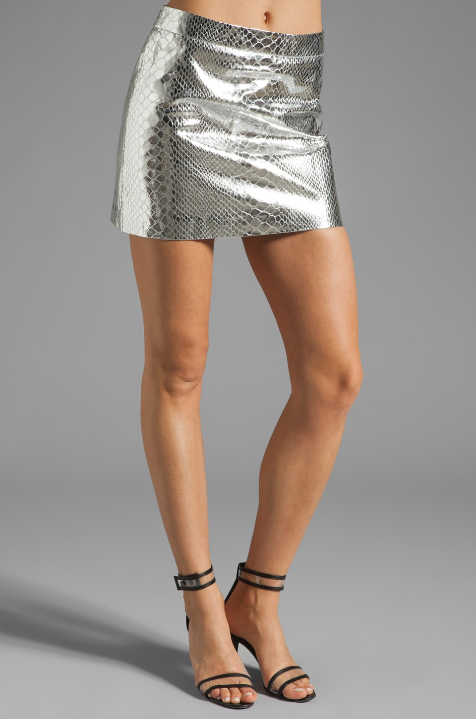 MILLY Mirrored Python Mini Skirt in Silver