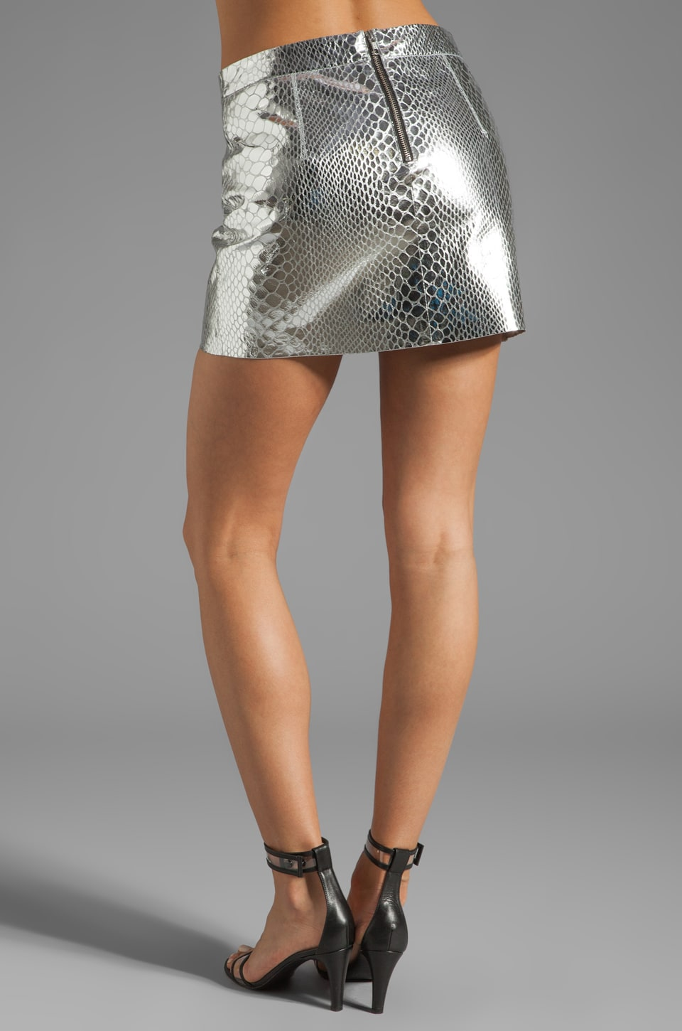 MILLY Mirrored Python Mini Skirt in Silver   REVOLVE