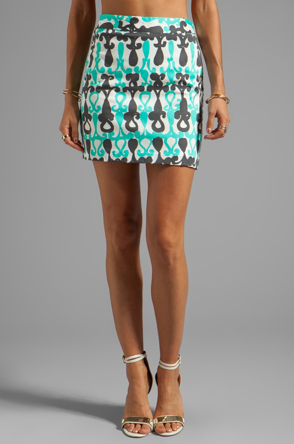 MILLY Moroccan Print A-line Mini Skirt in Aqua