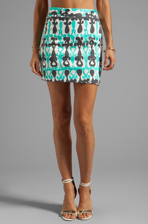 MILLY Moroccan Print A-line Mini Skirt in Aqua