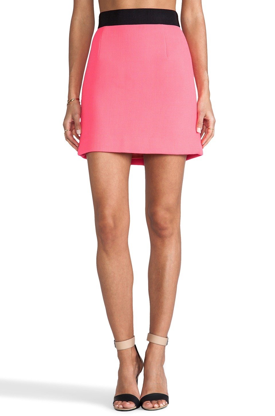 MILLY Bonded Double Wool Mini Pencil Skirt in Fluo Coral
