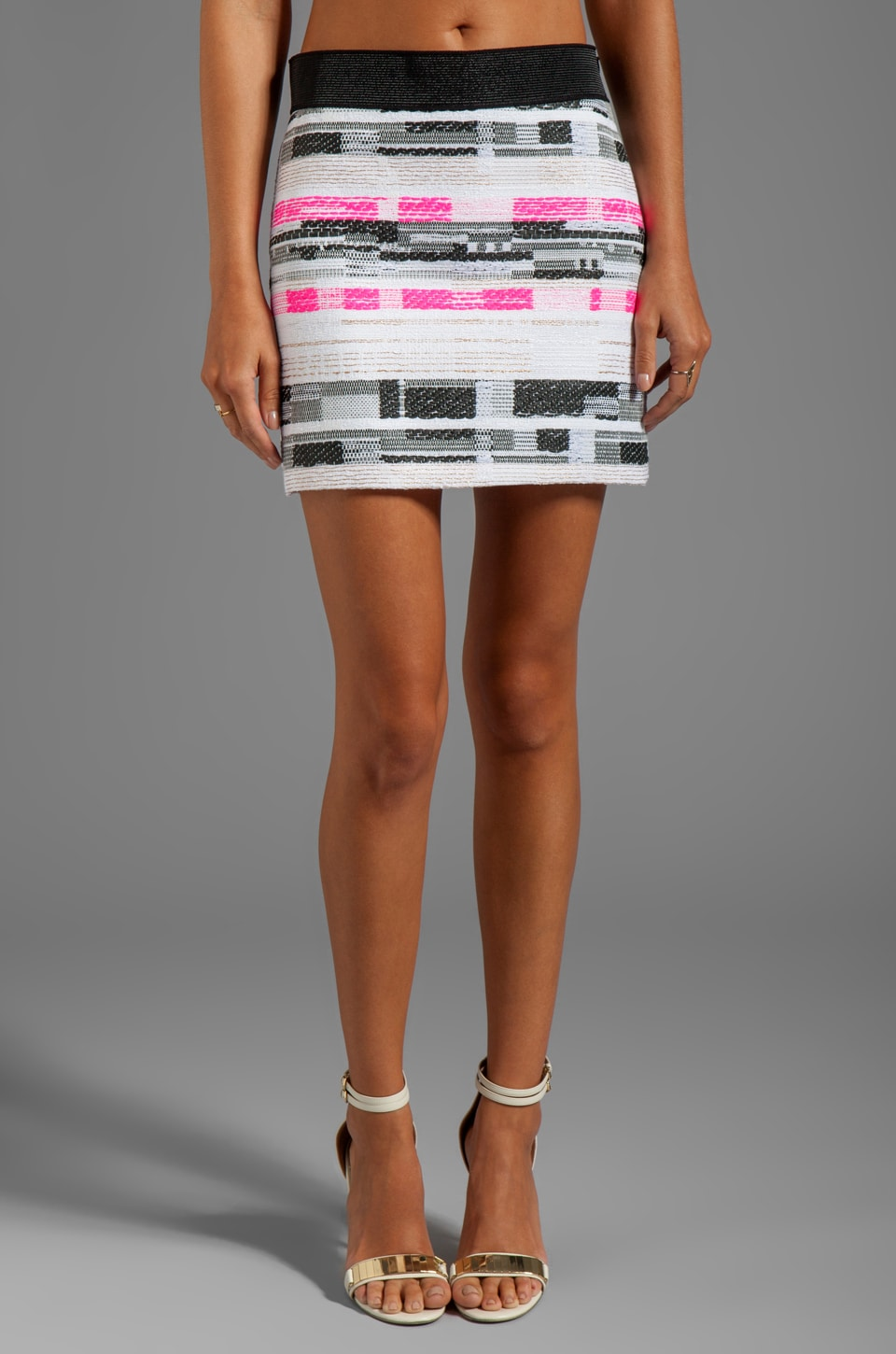 MILLY Malhia Couture Tweed Ribbon Mini Skirt in Shocking Pink