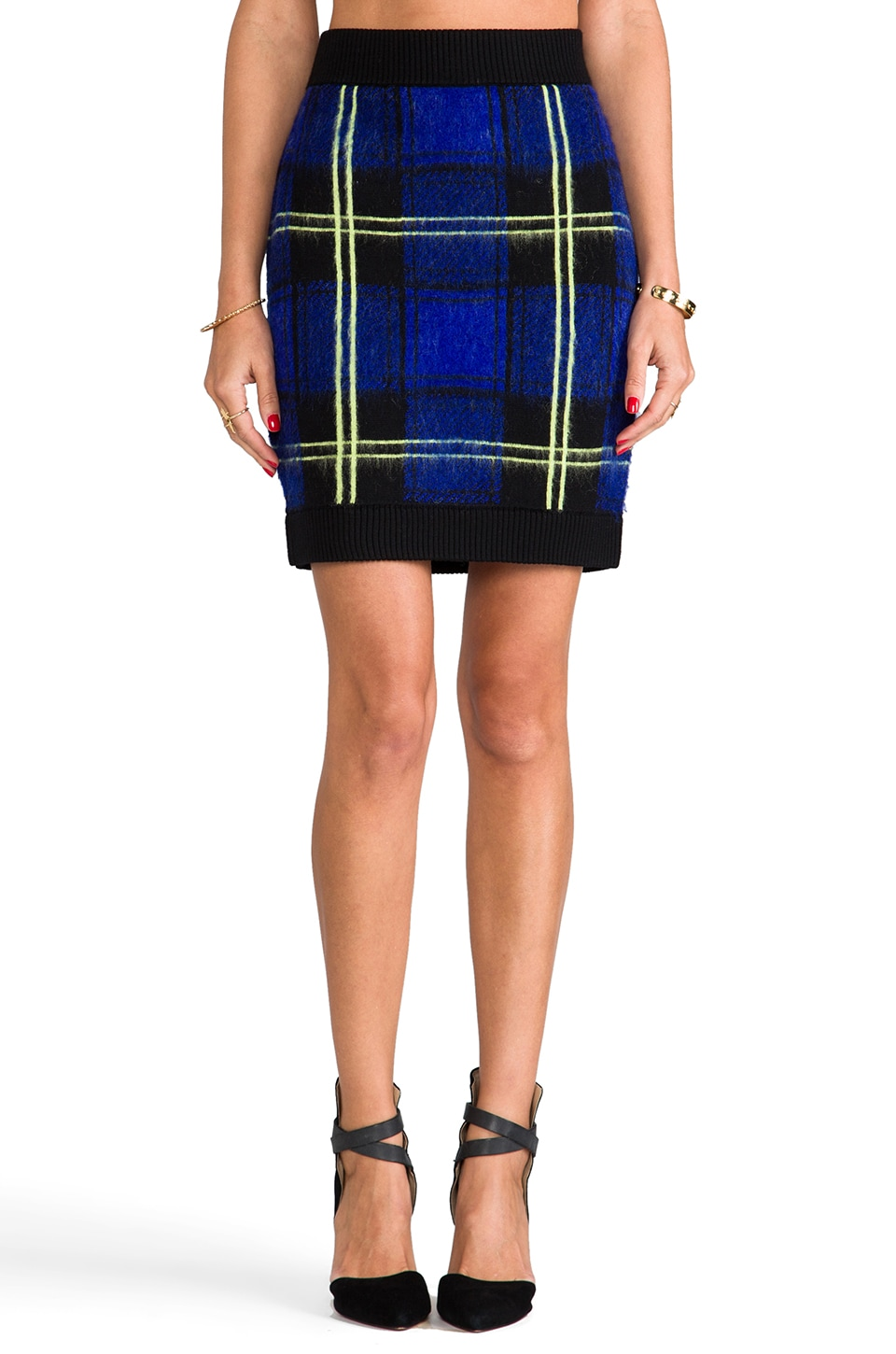 MILLY RUNWAY Knit Washed Plaid Jacquard Mini Skirt in Violet Multi