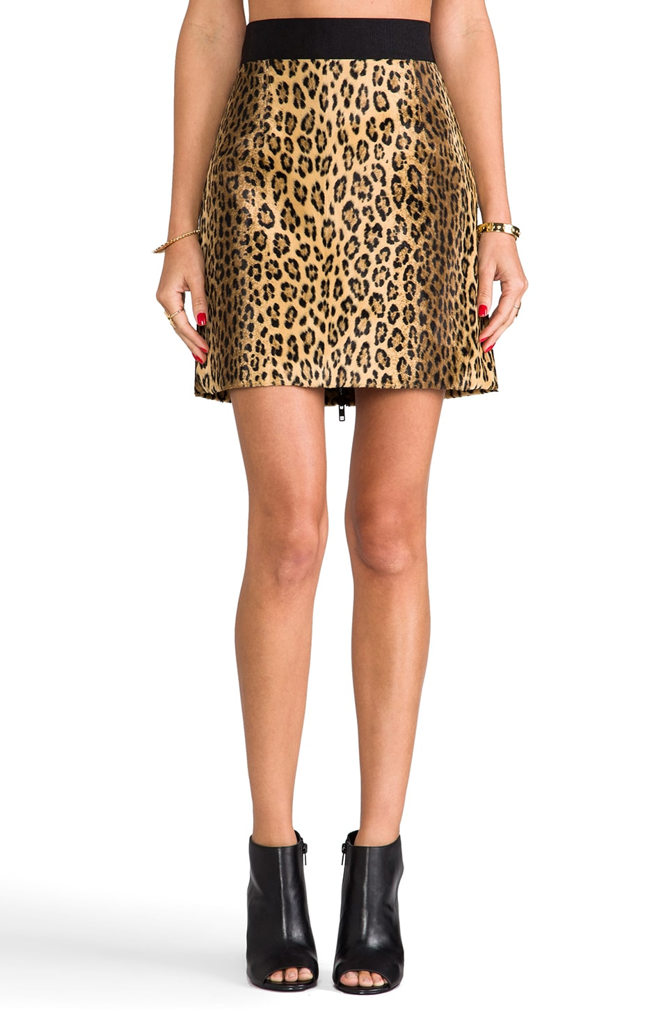 MILLY Cheetah Faux Fur Mini Pencil Skirt in Multi