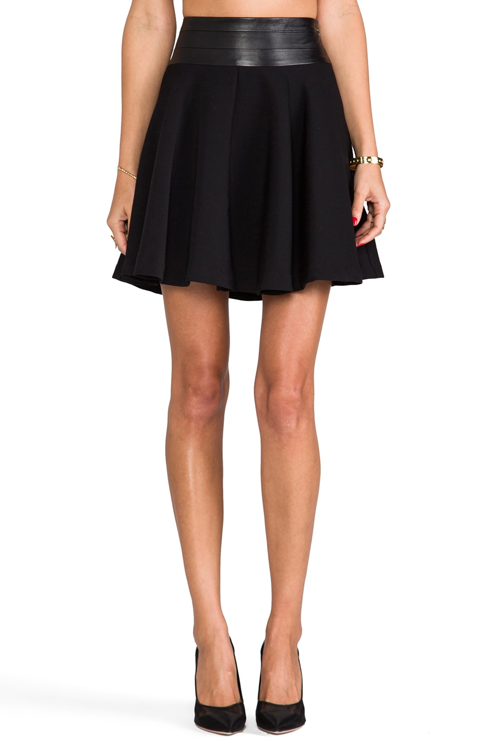 MILLY Doubleweave Twill Delphine Circle Skirt in Black