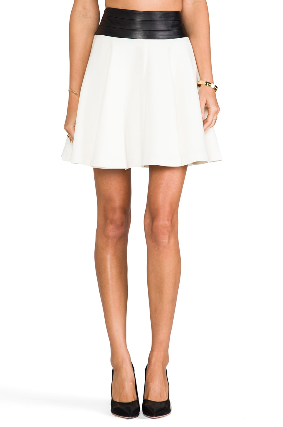 MILLY Doubleweave Twill Delphine Circle Skirt in Ivory