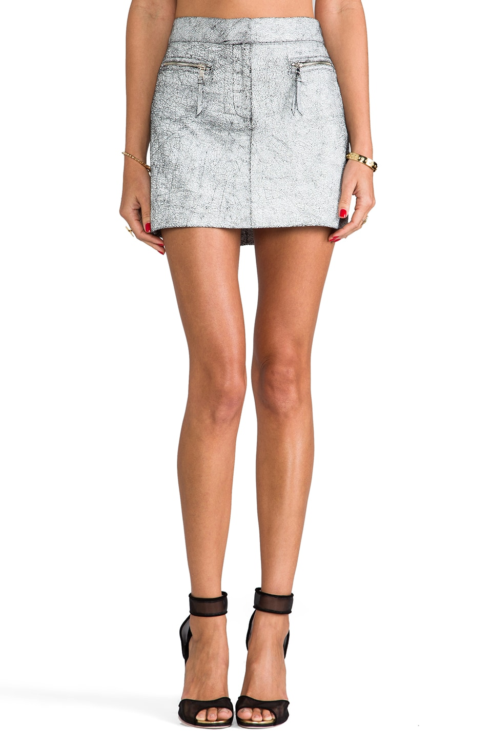 MILLY Stretch Plonge Leather Mini Skirt in Acid-Washed White