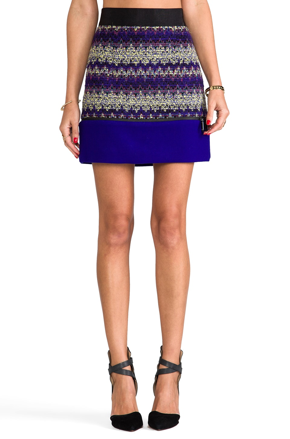 MILLY Zig Zag Tweed Zipper Mini Skirt in Violet