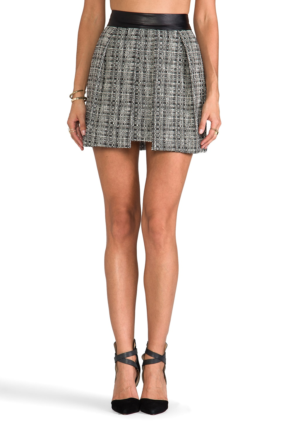 MILLY Black and White Tweed Skirt in Black
