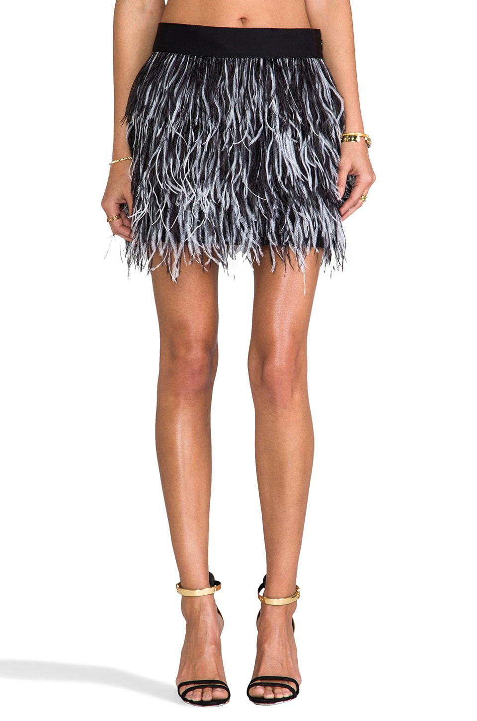 MILLY Cocktail Ostrich Fringe Skirt in Black & White