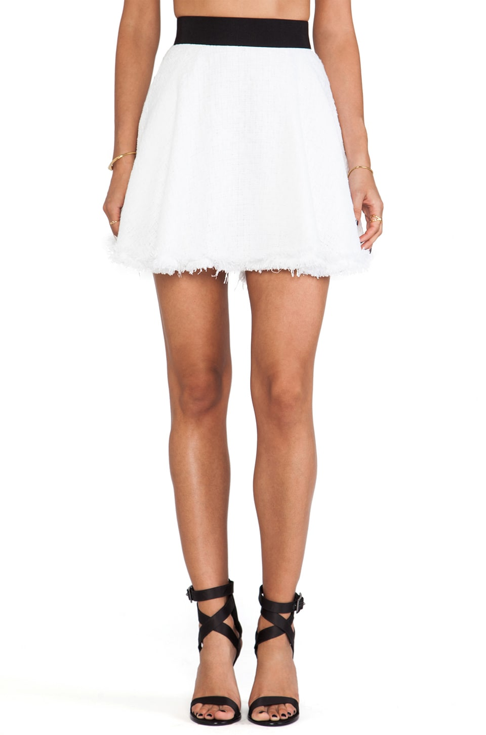 MILLY Flare Mini Skirt in White