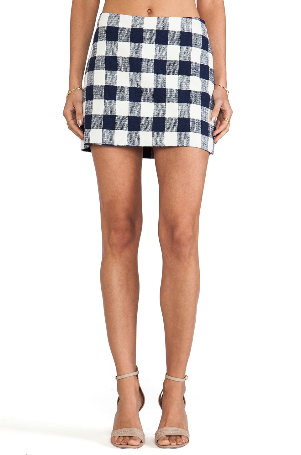 MILLY Provence Check Mini Skirt in Denim
