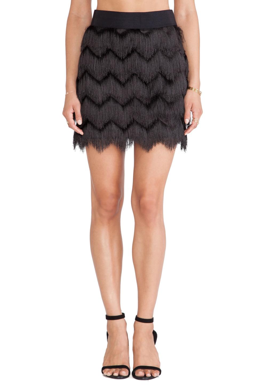MILLY Fringe Mini Skirt in Black