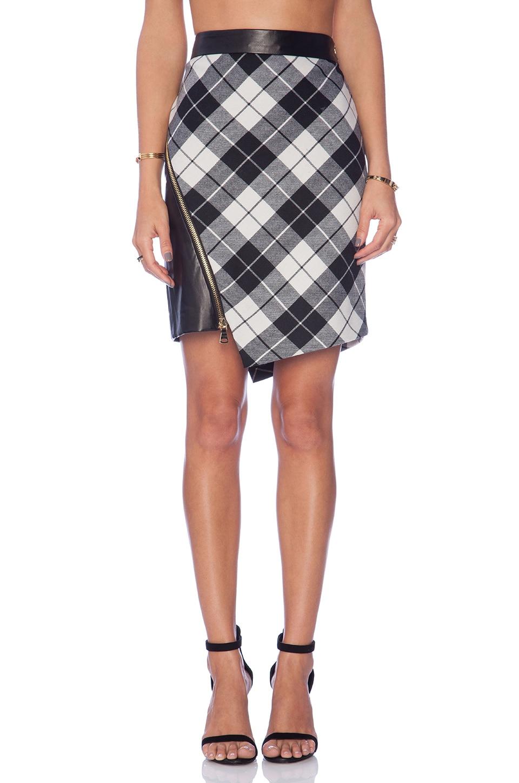 MILLY Tartan Slit Mini Skirt in Ivory
