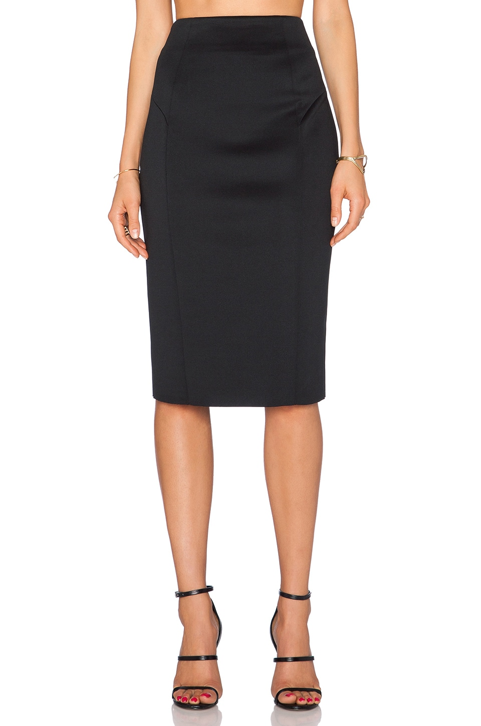 MILLY Tech High Waisted Pencil Skirt in Black