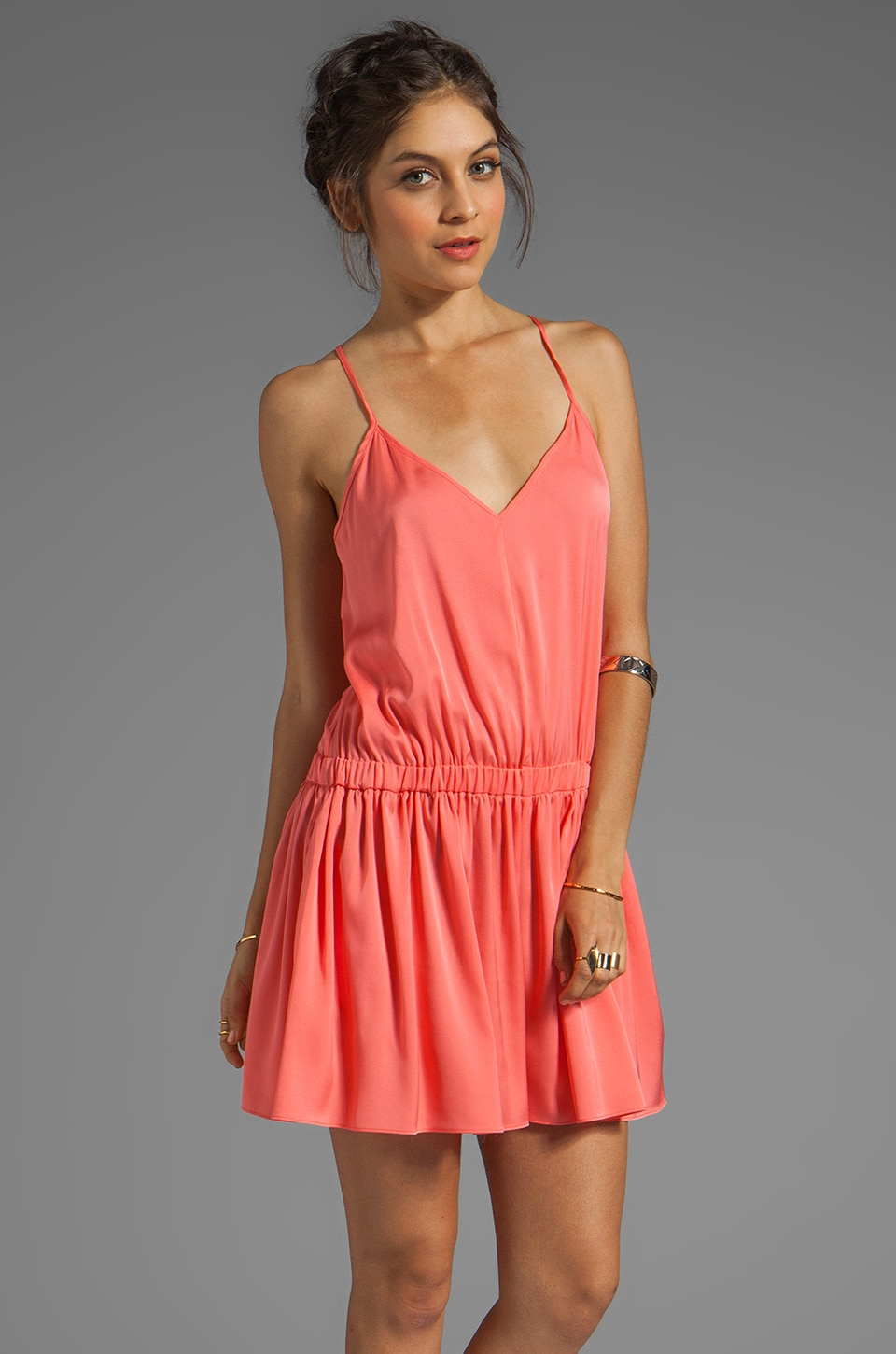 MILLY Matte Stretch Silk Racerback Romper in Fluo Melon