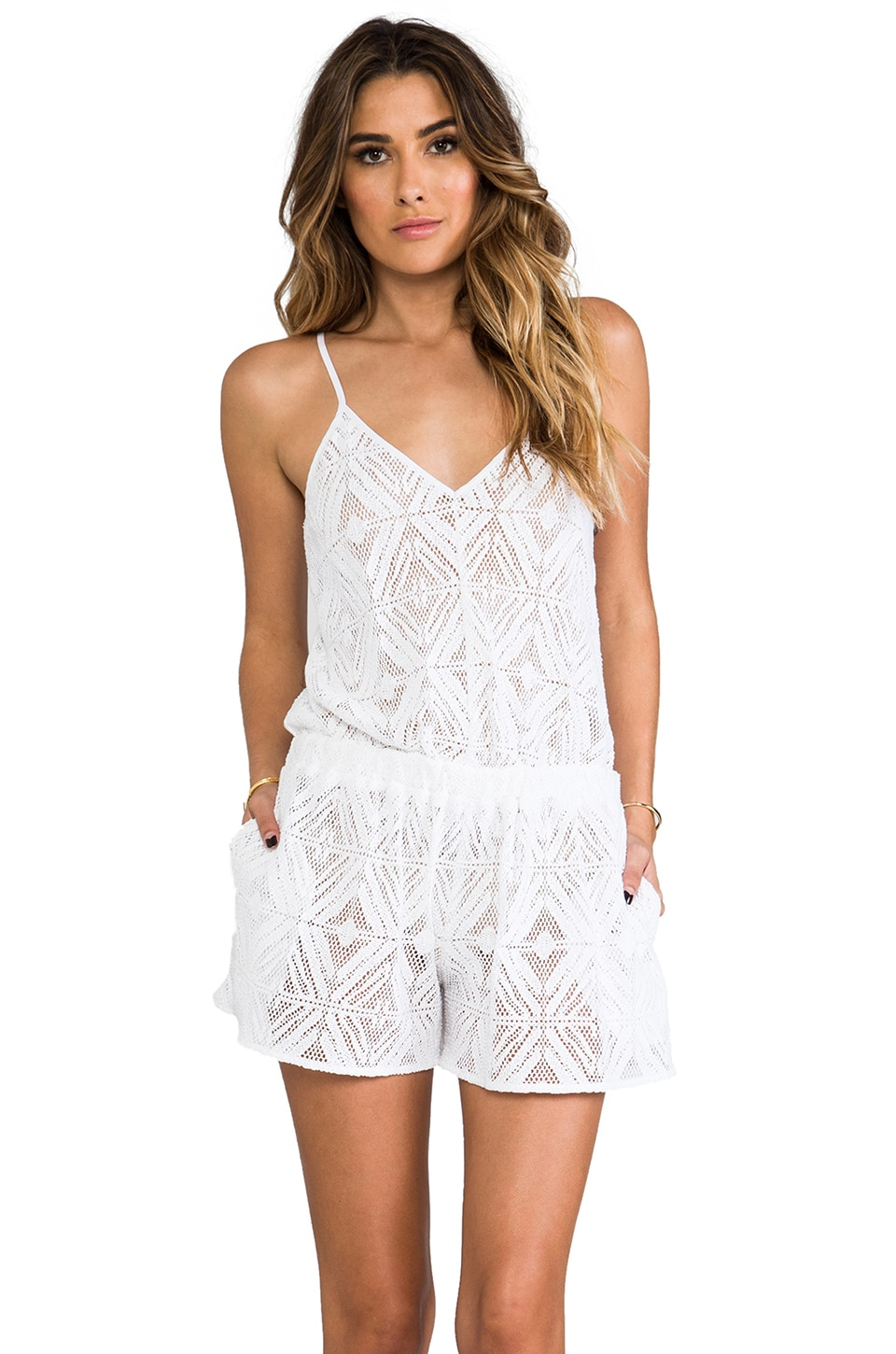 MILLY Crochet Romper in White