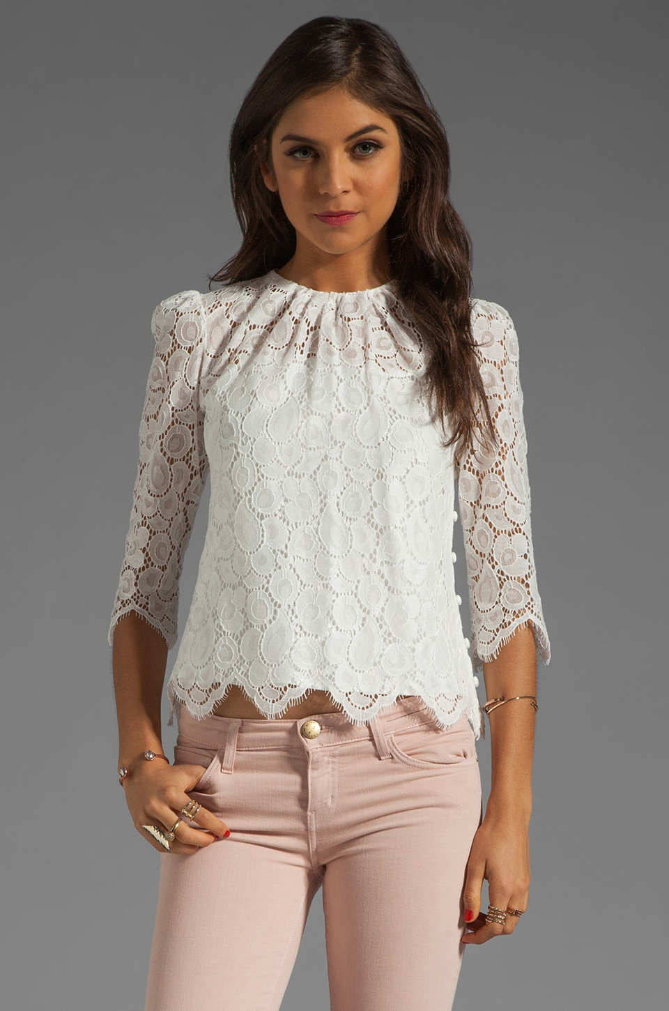 MILLY Begonia Scallop Lace Ivy Blouse in Ecru