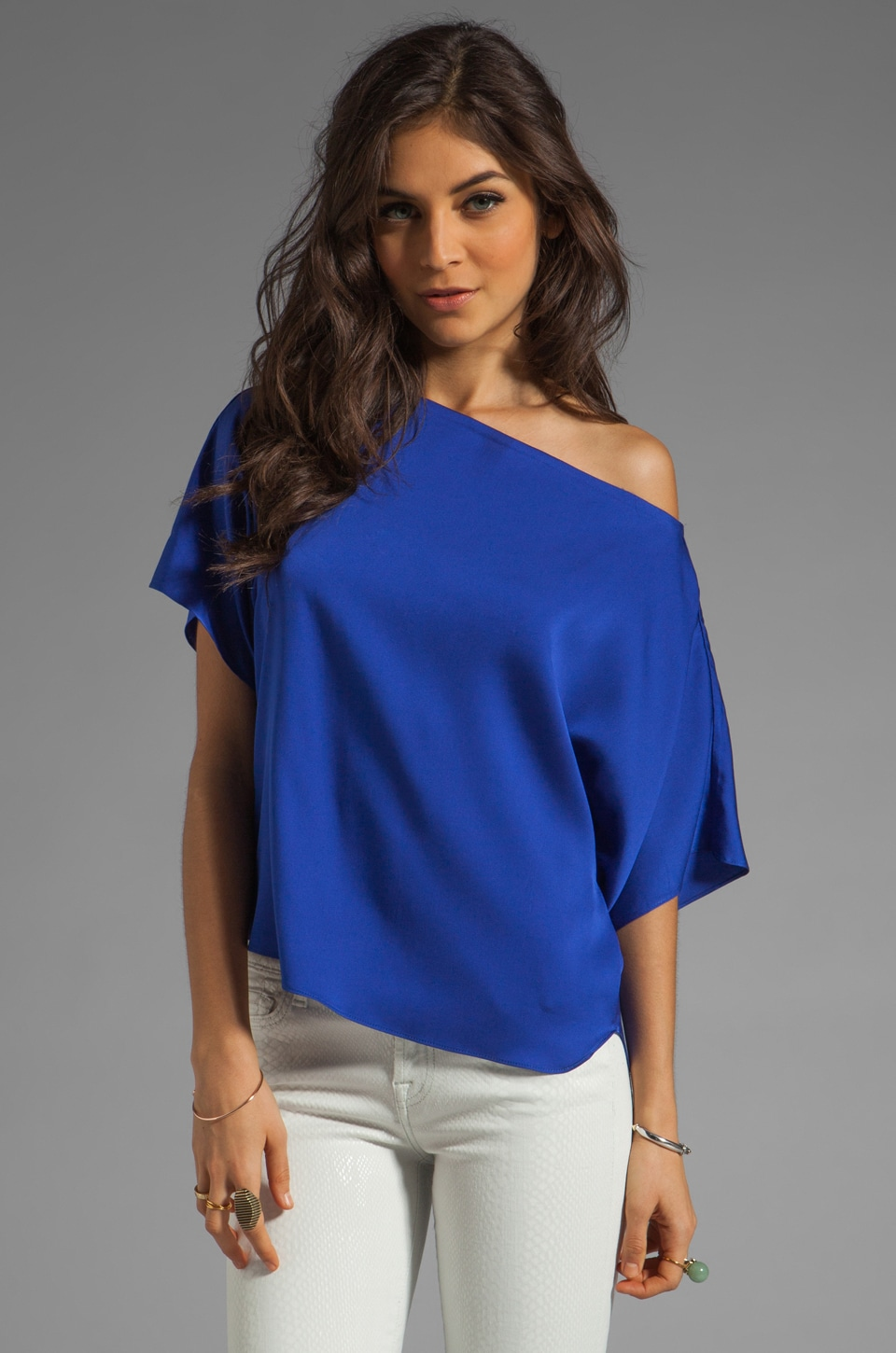 MILLY Matte Stretch Silk Dolman Top in Lapis
