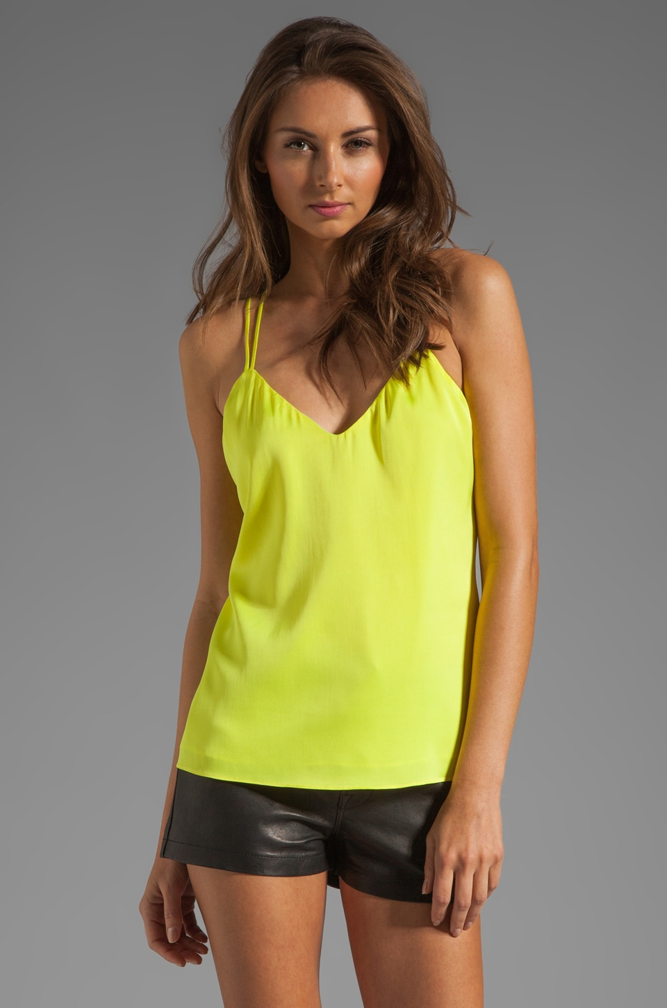 MILLY Matte Stretch Silk V Doublestrap Top in Lemon