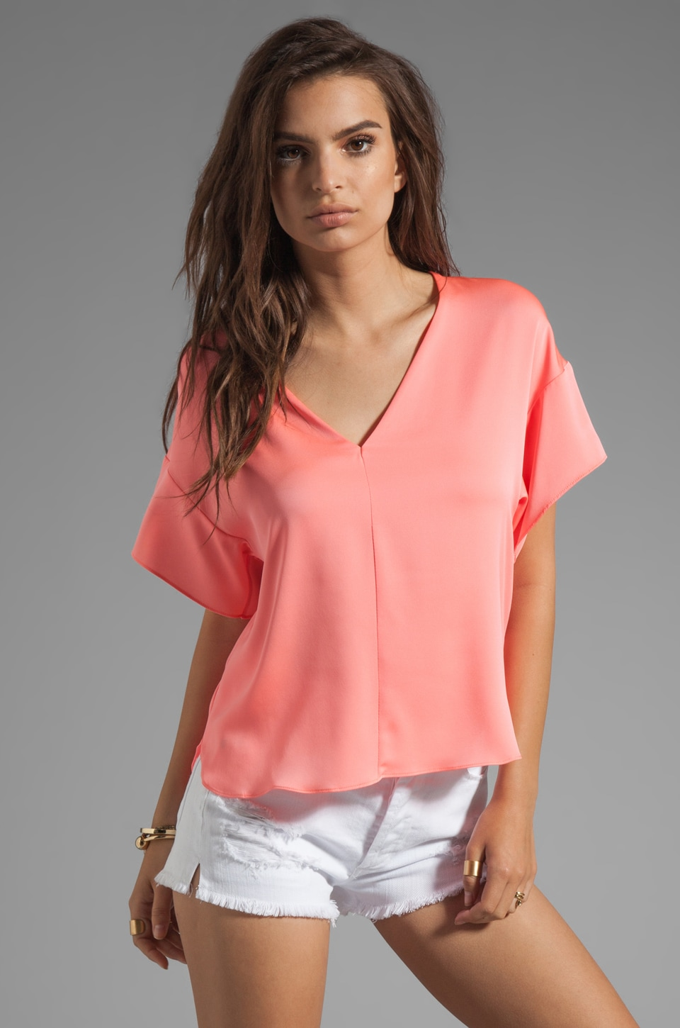 MILLY Stretch Silk Crepe Kimono Blouse in Fluo Melon