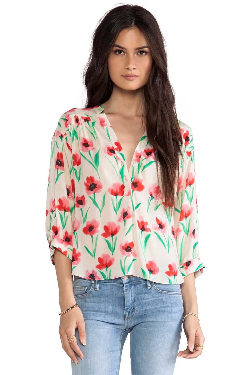 MILLY Poppy Print Camilla Sleeve Top in Multi