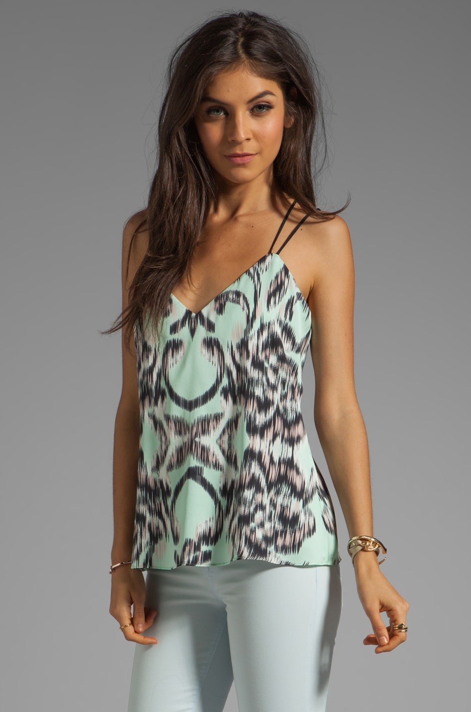 MILLY Digital Ikat Print on Matte Silk V Double Strap Top in Seaglass