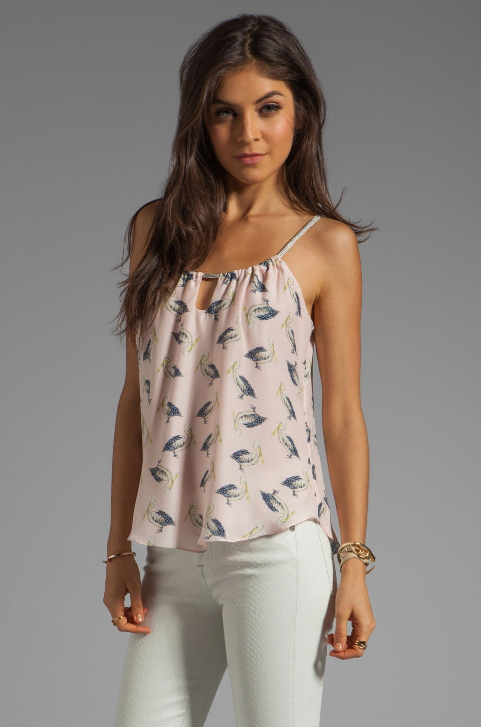 MILLY Pellicano Print on Silk Crepe Paolo Tank in Blush