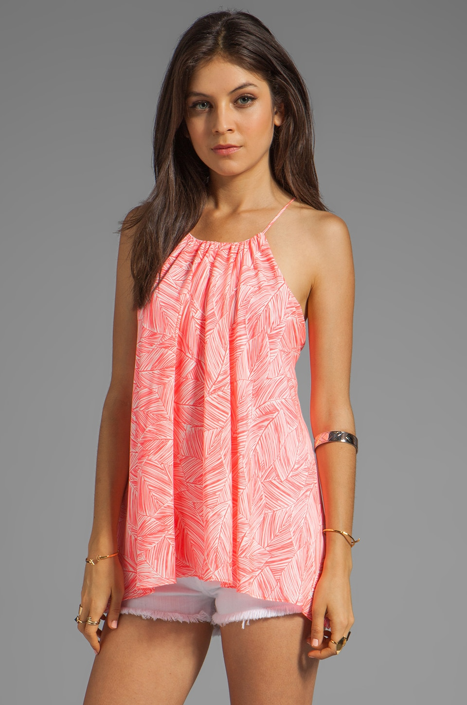 MILLY Palm Print Gathered Tank in Fluo Melon