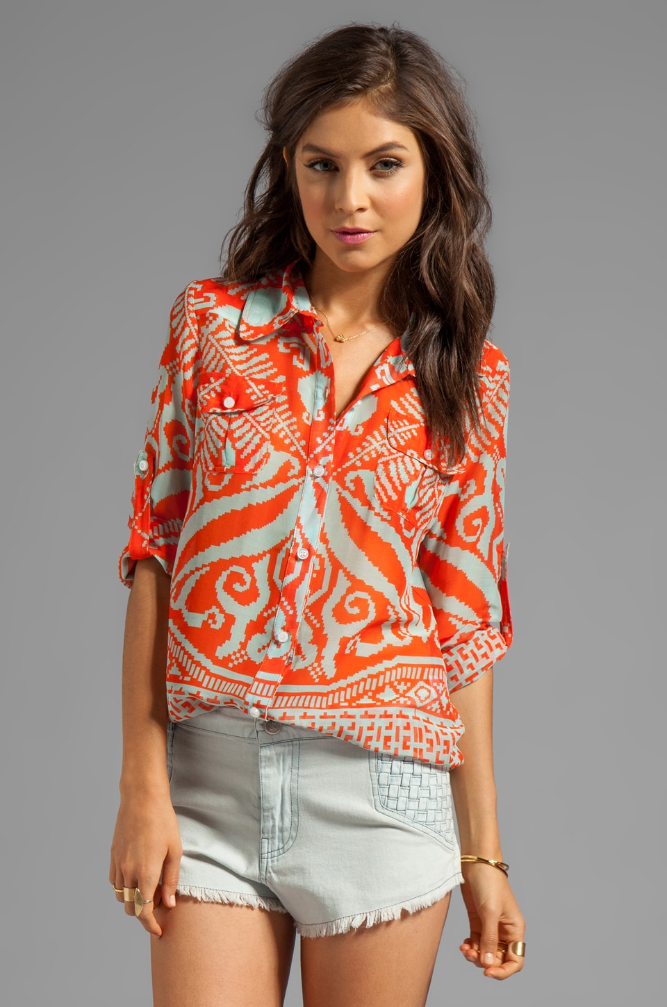 MILLY Mosaic Print Silk Elisa Epaulette Buttondown Top in Kumquat