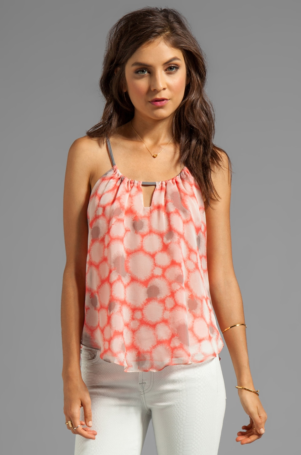 MILLY Dandelion Print Silk Paolo Tank in Kumquat