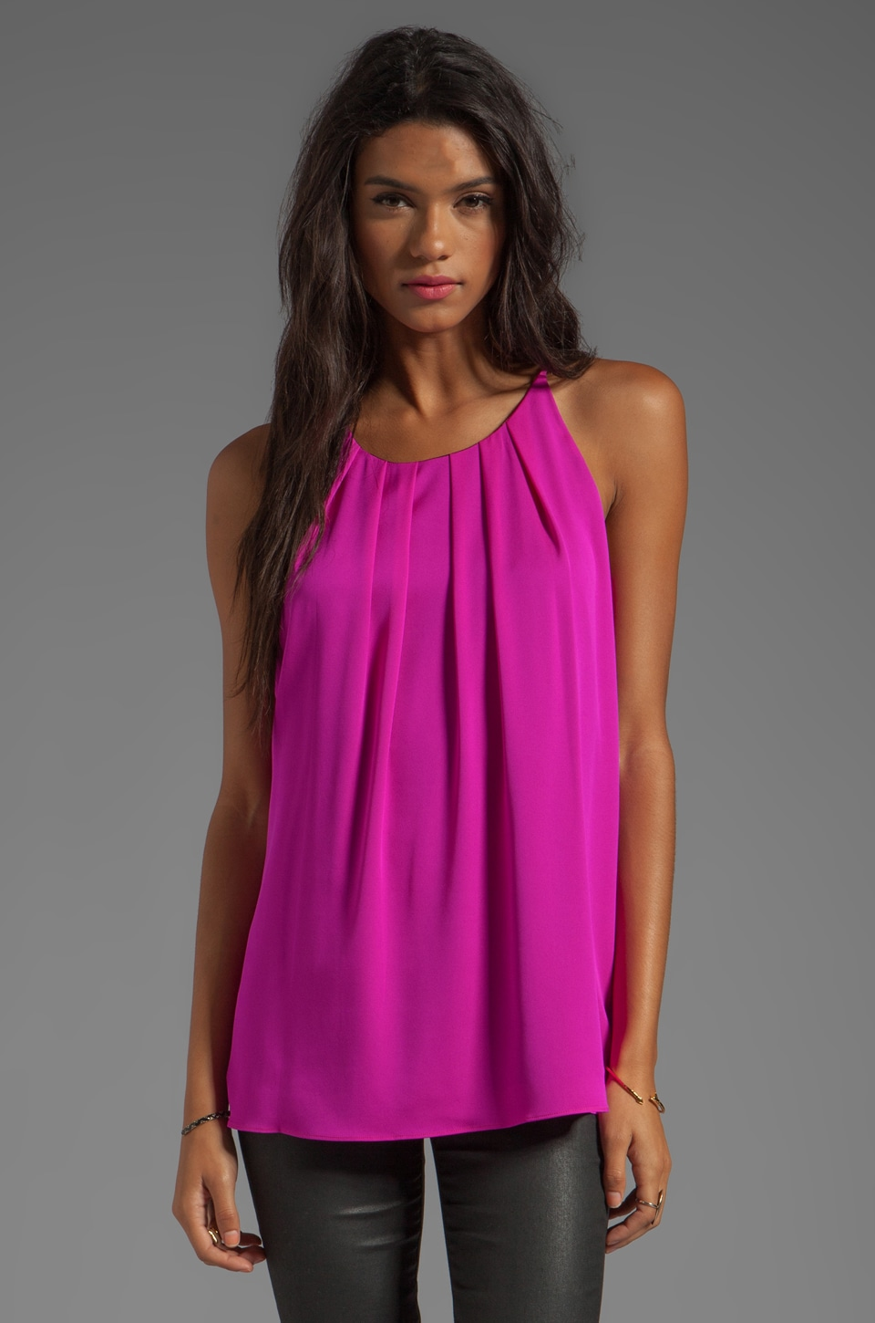 MILLY Stretch Silk Crepe Gwen Fly-Away Tank in Shocking Pink