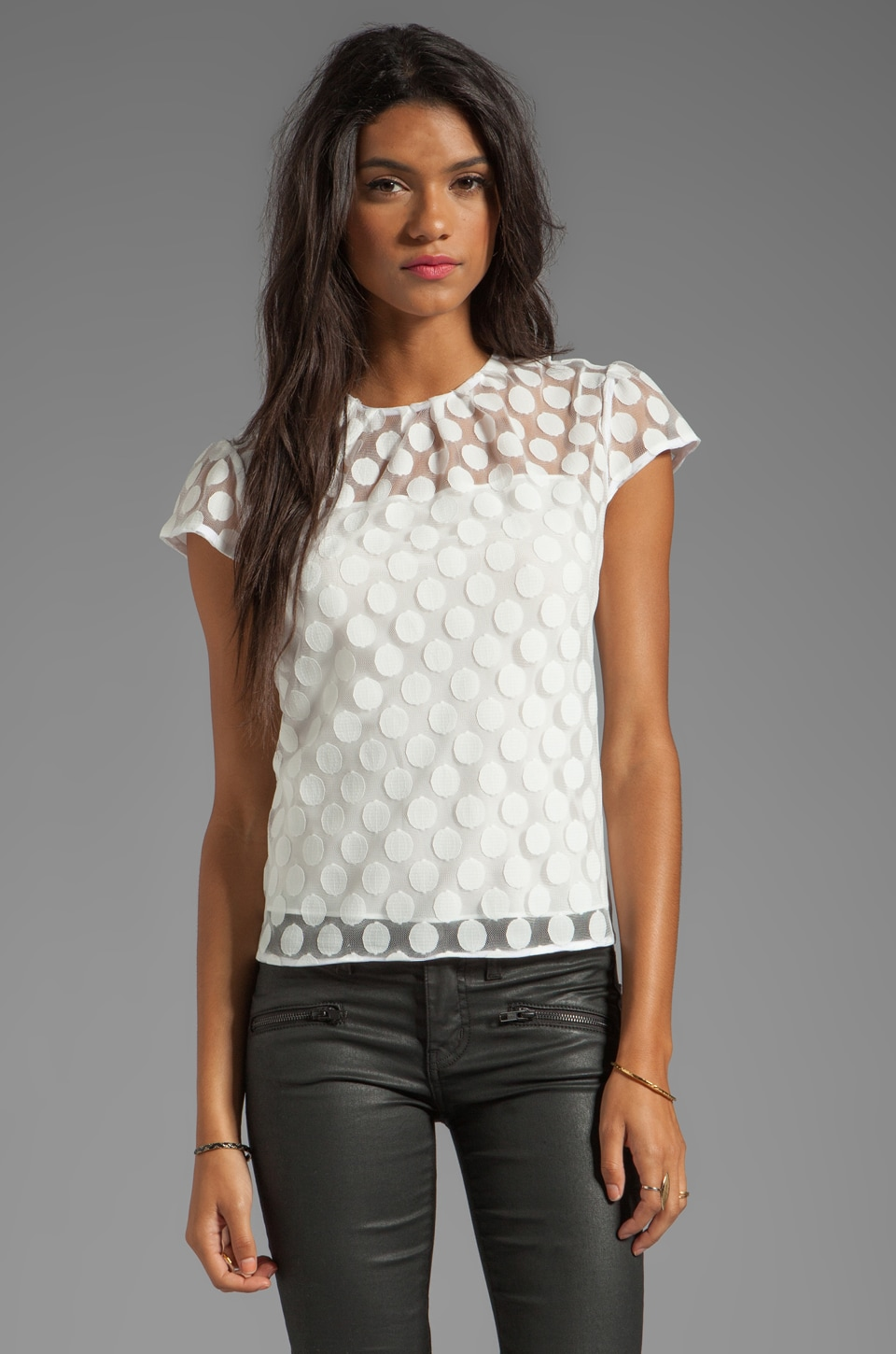 MILLY Gumball Dot Lace Lexi Cap Sleeve Top in White