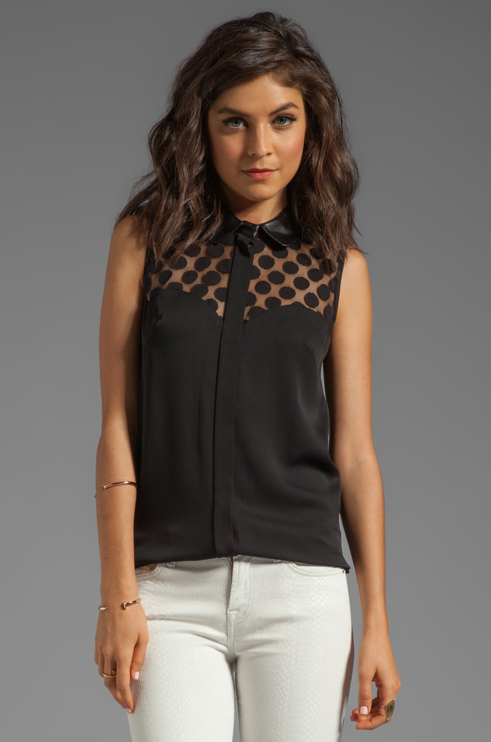 MILLY Gumball Dot Lace Natalia Leather Collar Top in Black