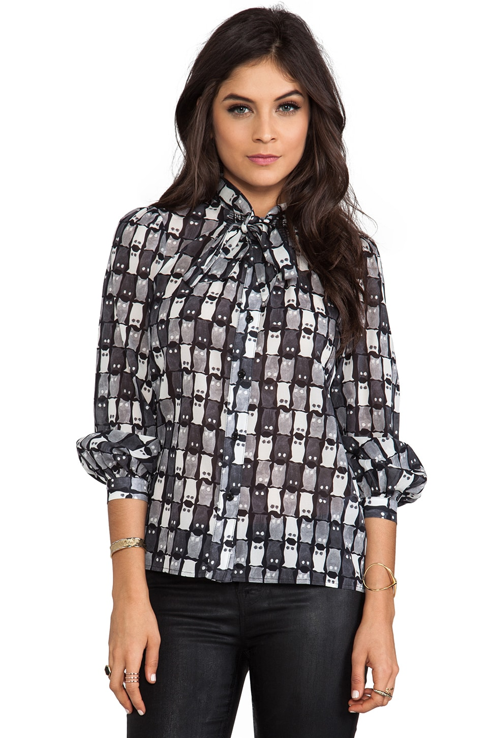 MILLY Owl Print Blouse in Grey
