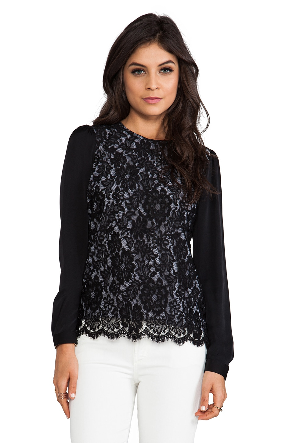 MILLY Floral Scalloped Lace Blousant Sleeve Top in Black/Charcoal
