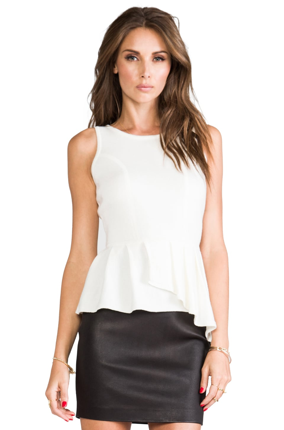 MILLY Knit Asymmetrical Peplum Shell Sweater in Ivory