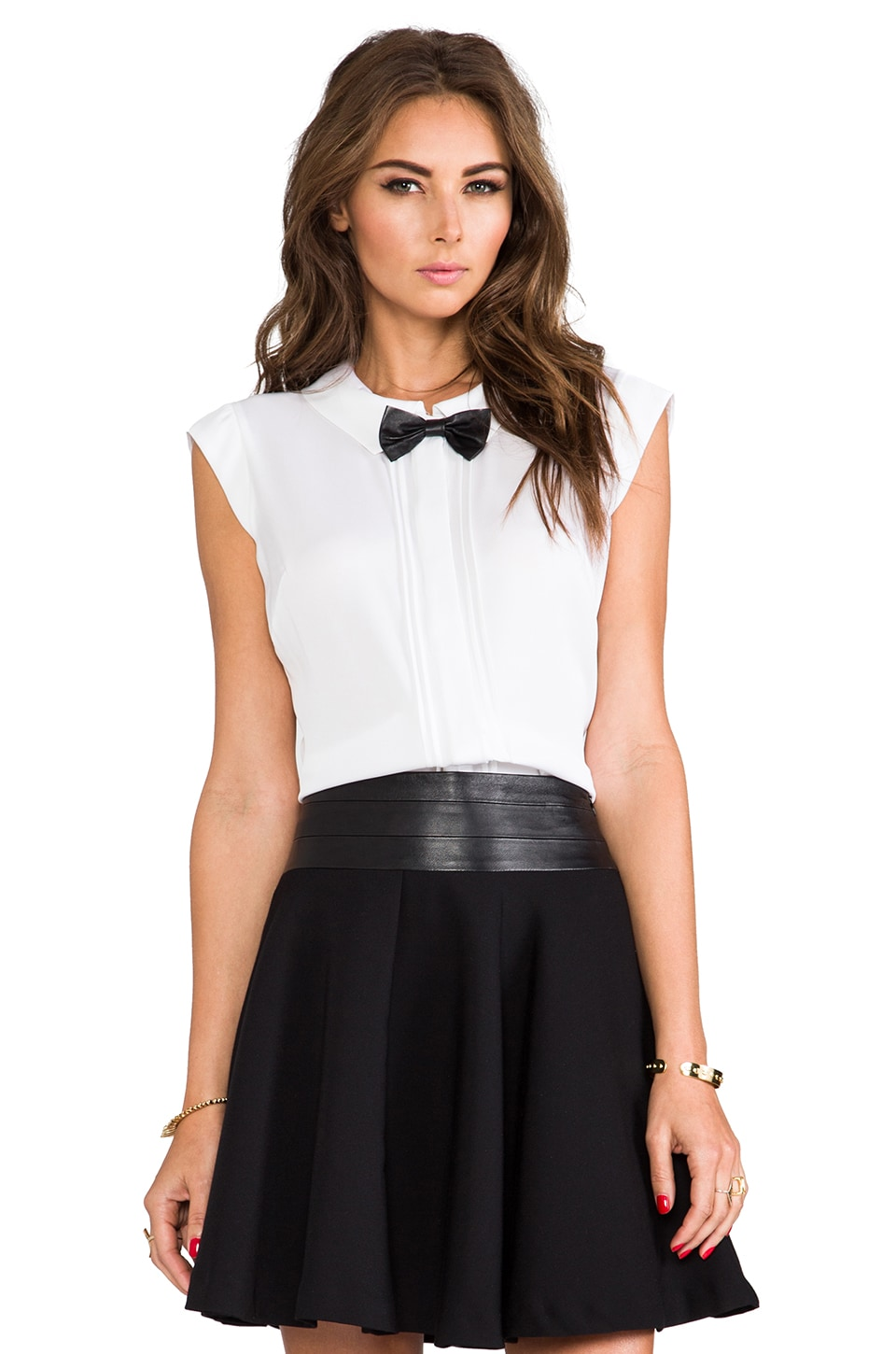 MILLY Stretch Silk Crepe Leather Bowtie Top in Ivory