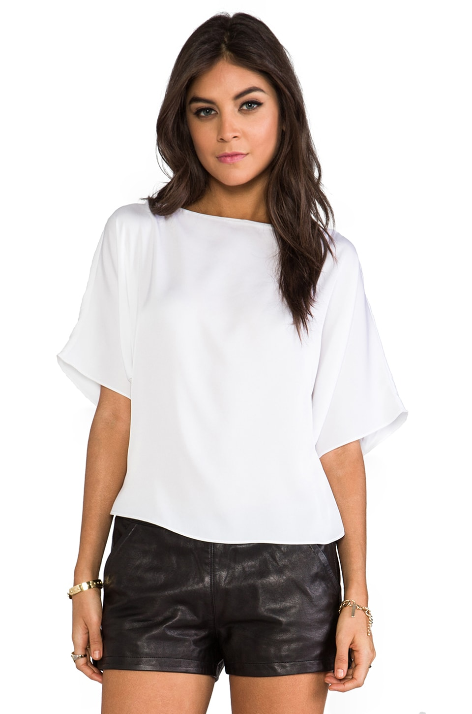 MILLY Matte Stretch Silk Dolman Sleeve Top in Ecru