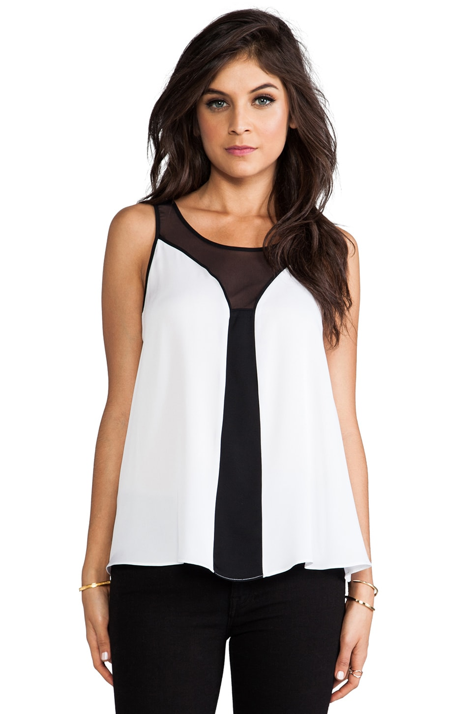 MILLY Mesh Fly-Away Top in White