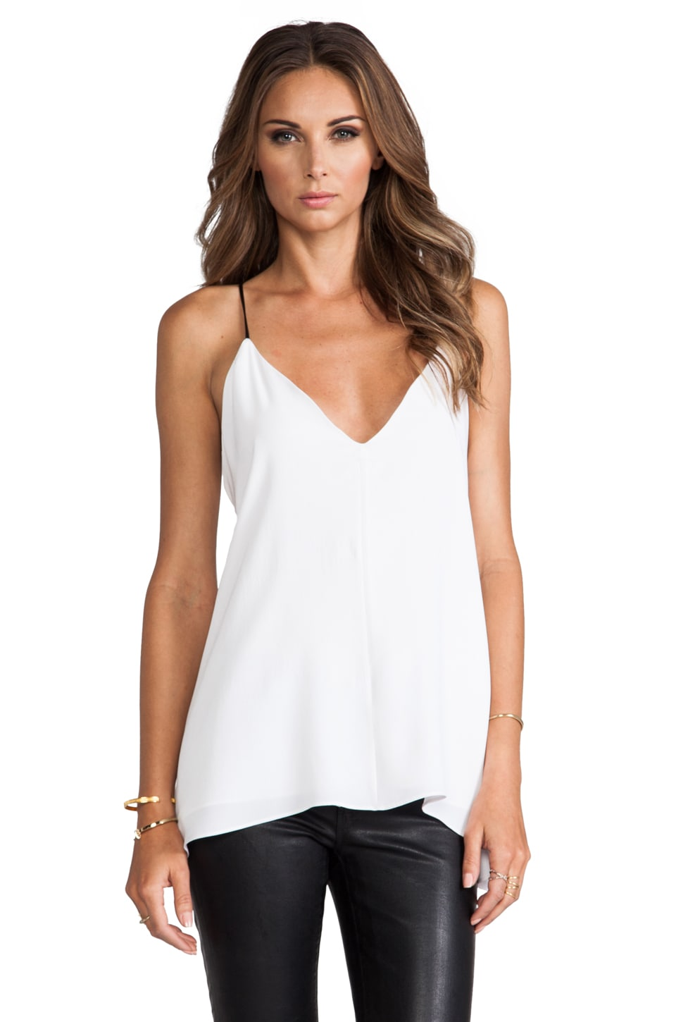 MILLY V Neck Fly Away Top in White