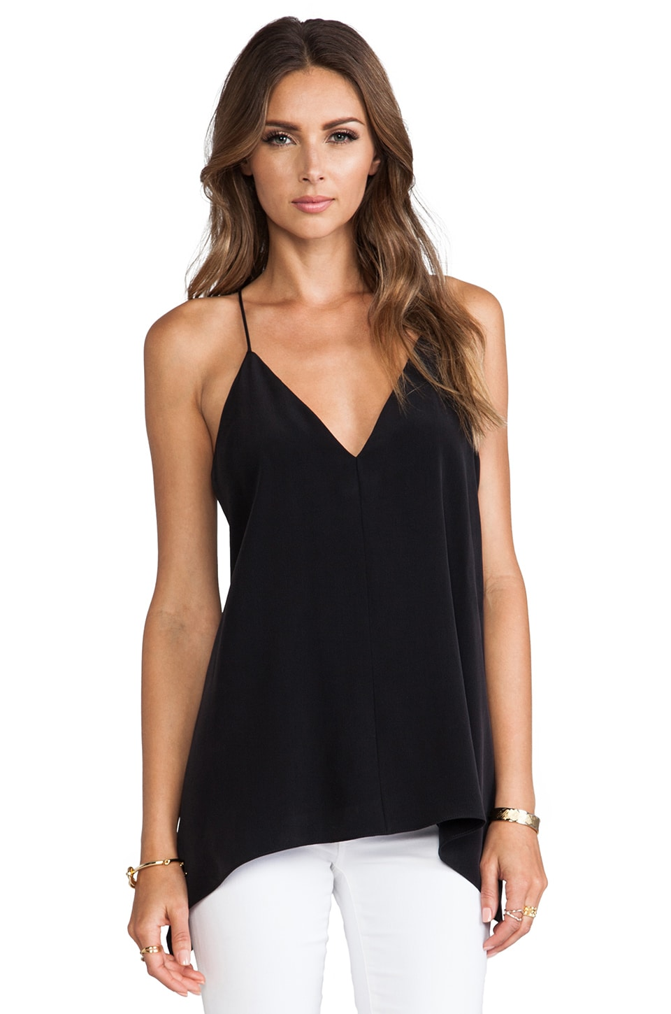 MILLY Sandwashed Silk V-Neck Fly-Away Tank in Black