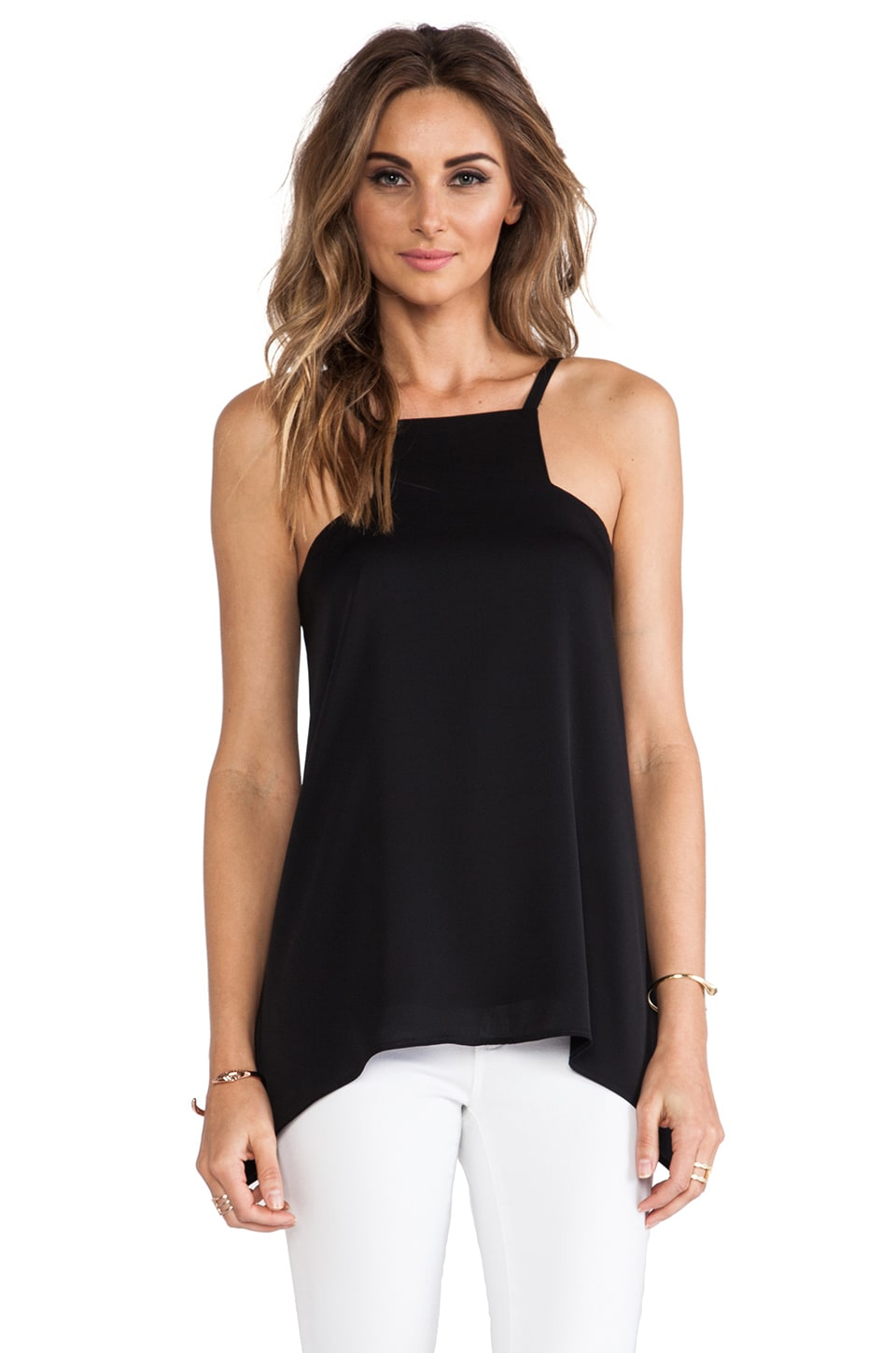 MILLY Square Neck Tank in Black