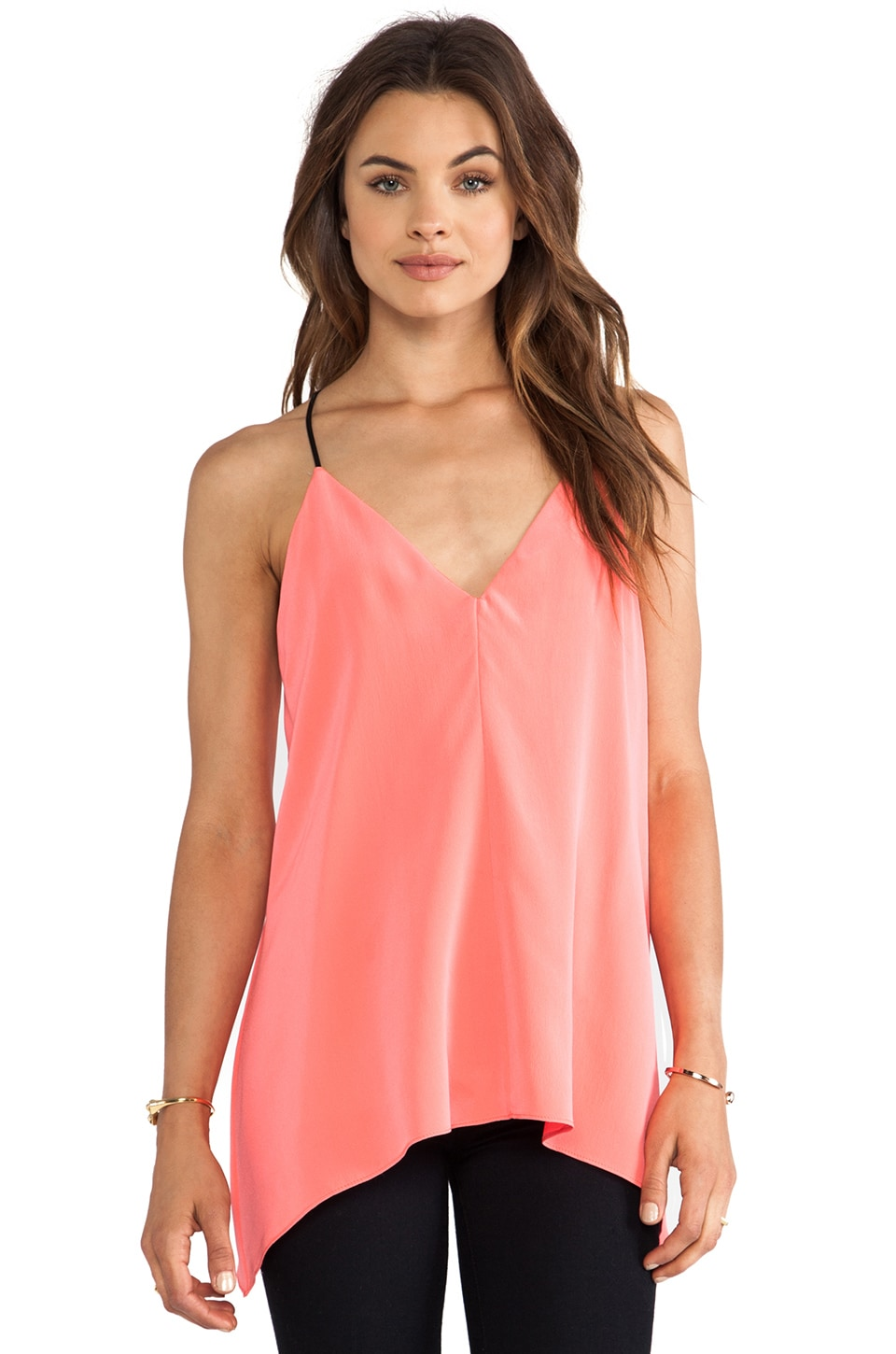 MILLY V Neck Fly Away Top in Fluo Coral