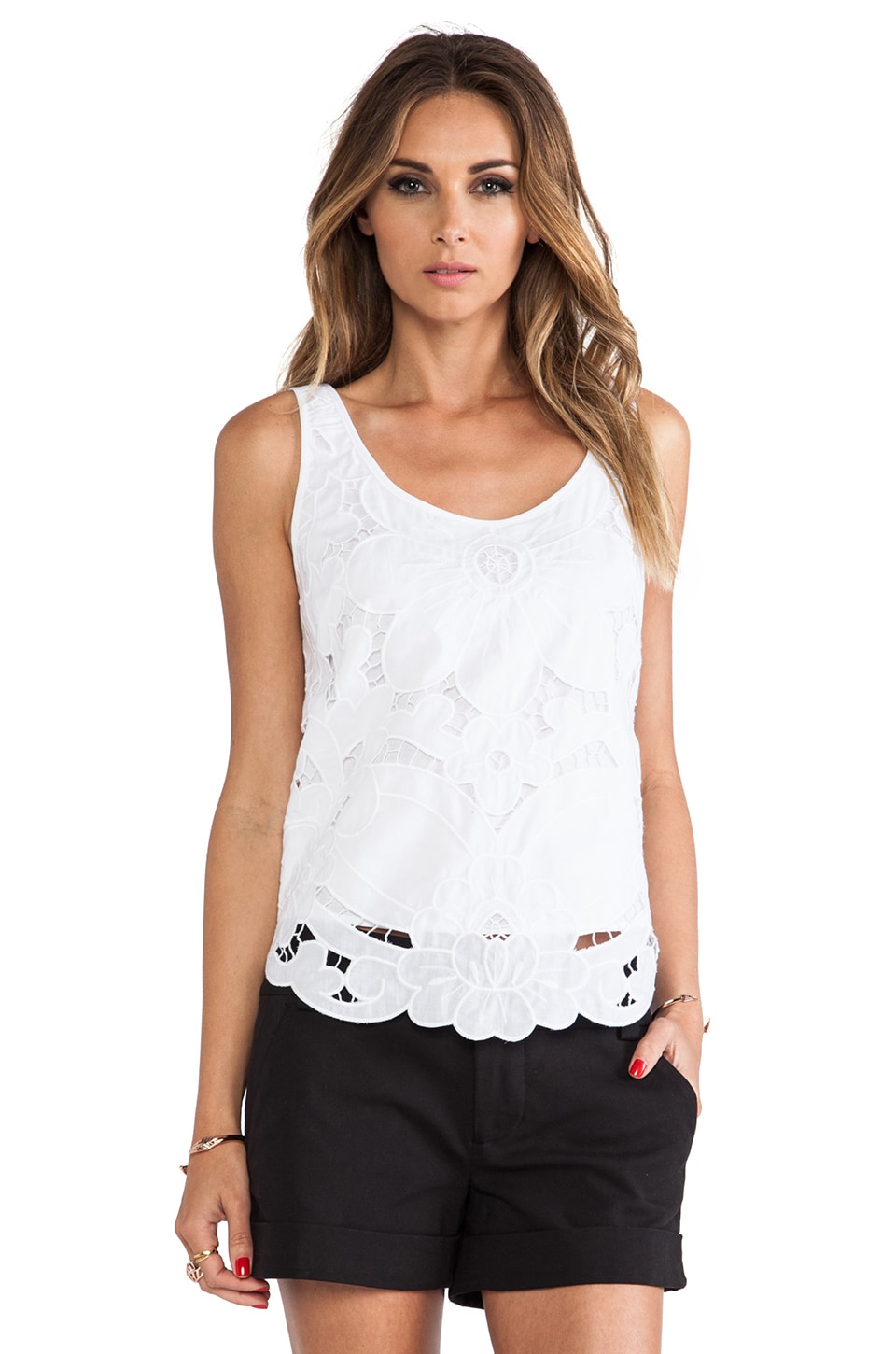 MILLY Embroidery Tank Top in White