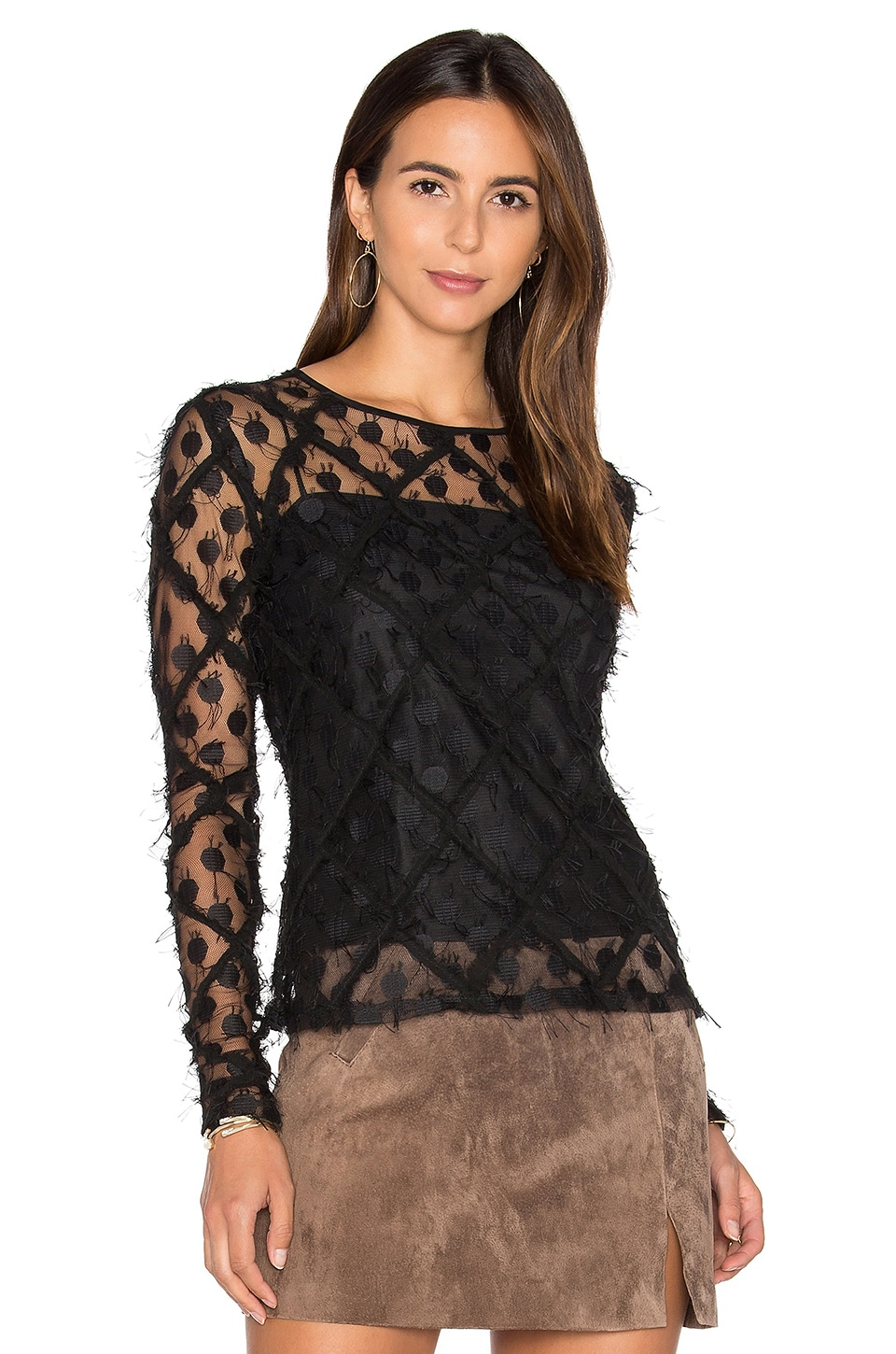 Lace Long Sleeve Top by MILLY