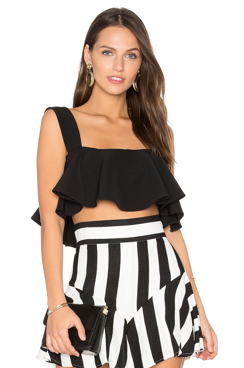 MILLY Ruffle Cropped Tank in Black