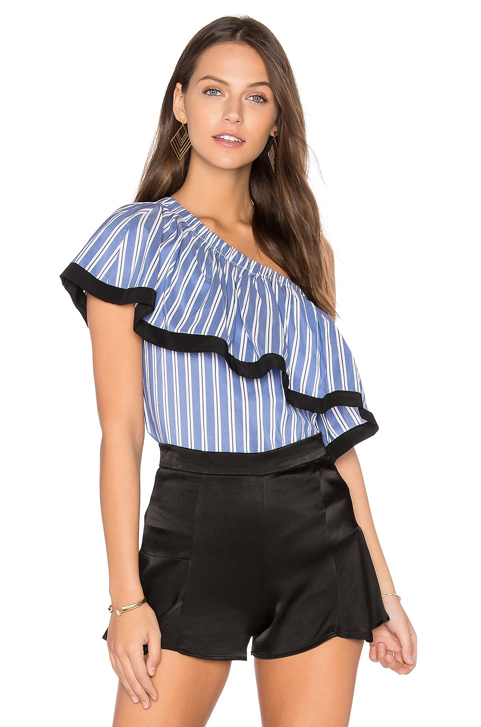 MILLY One Shoulder Top in Blue