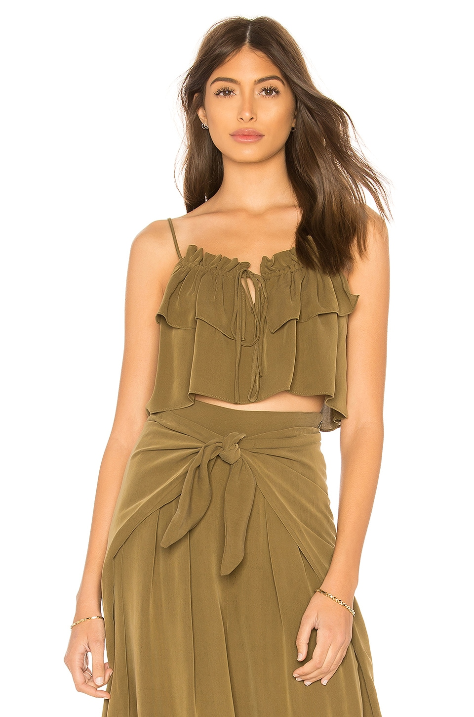 MILLY Tammy Crop Top in Olive