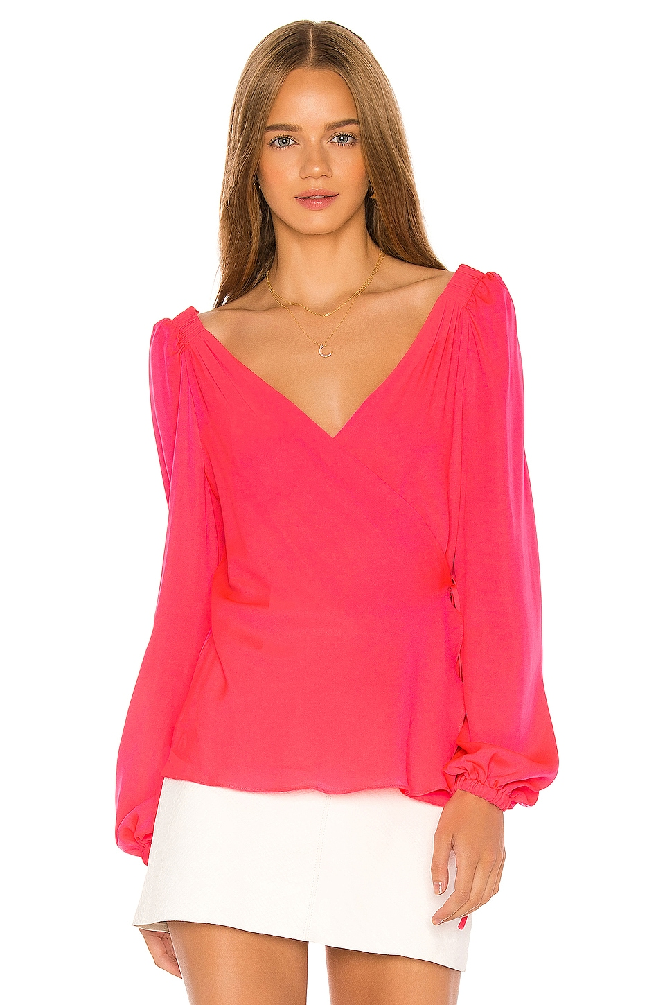 MILLY Hallie Wrap Top in Bombshell Pink